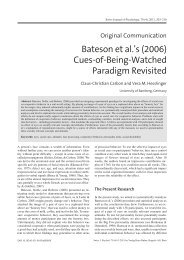 Bateson et al.'s (2006) Cues-of-Being-Watched Paradigm Revisited