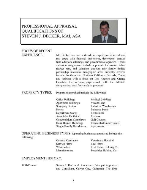 Professional Appraisal Qualifications Of Steven J