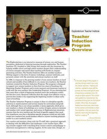 Teacher Induction Program Overview - Exploratorium