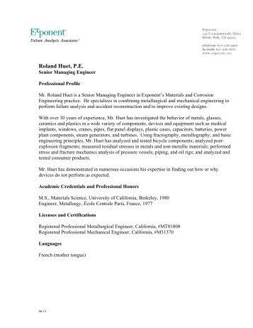 Roland Huet, P.E. - Exponent