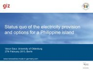 Status quo of the electricity provision