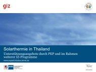 Nationale Initiativen und Relevanz für Solarthermieprojekte - GIZ