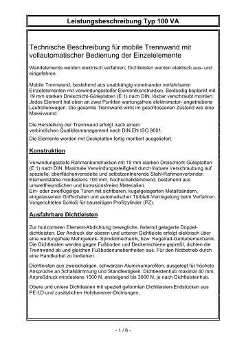 Technische Beschreibung für mobile Trennwand mit - Reuplan