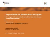 PDF: 783 KB - Exportinitiative Erneuerbare Energien - BMWi
