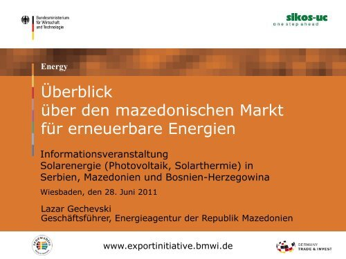 PDF: 521,1 KB - Exportinitiative Erneuerbare Energien - BMWi