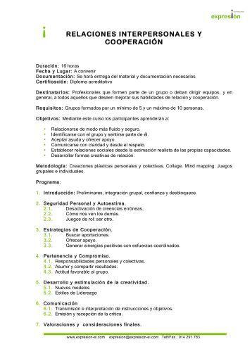 Relaciones Interpersonales y Cooperación - Expresion-ei.com