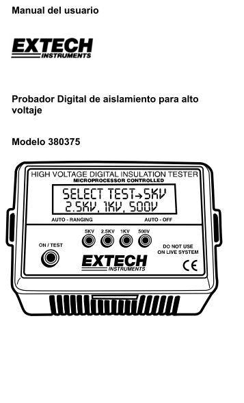 Manual del usuario Probador Digital de aislamiento para alto voltaje ...