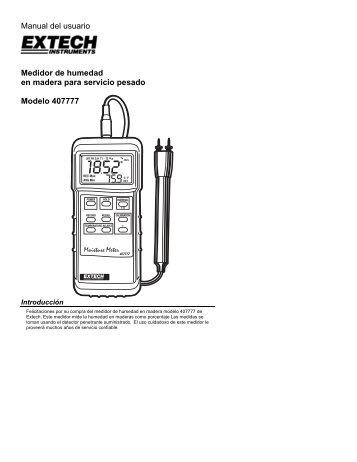 Manual del usuario Medidor de humedad en madera - Extech ...