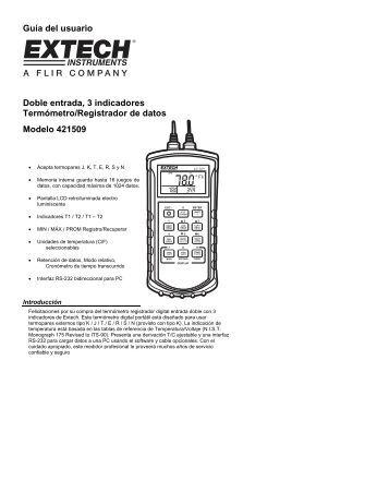 Guía del usuario Doble entrada, 3 indicadores Termómetro ...