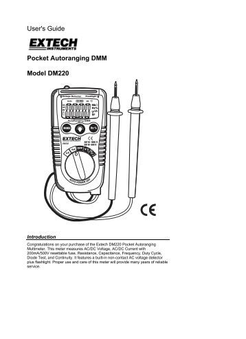 User's Guide Pocket Autoranging DMM Model DM220 - Extech ...