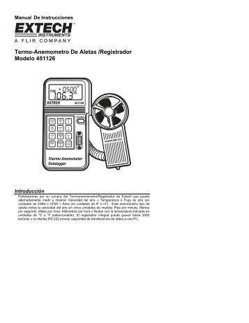 Termo-Anemometro De Aletas /Registrador Modelo 451126 - Extech ...