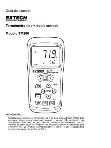 Guía del usuario Termómetro tipo k doble entrada Modelo TM200