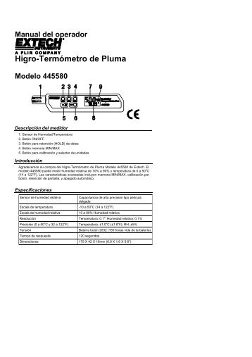 Higro-Termómetro de Pluma - Extech Instruments