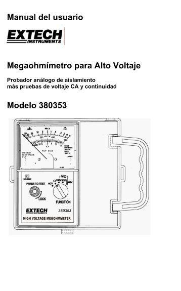 Manual del usuario Megaohmímetro para Alto Voltaje Modelo 380353