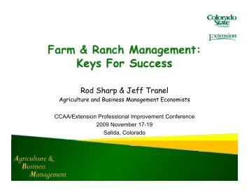 Agriculture & Business Management - Colorado State University ...