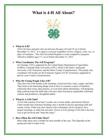 What is 4-H All About - Colorado State University Extension