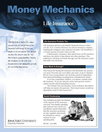 Money Mechanics: Life Insurance - Iowa State University Extension ...