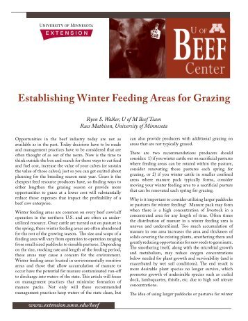 Establishing Winter Feeding Areas for Grazing - University of ...