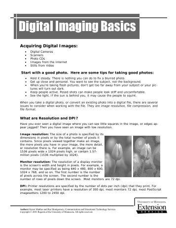 Digital Imaging Basics Handout - University of Minnesota Extension ...