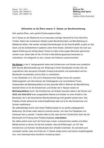 Ganztagsklasse Städtischen Adalbert Stifter Realschule Referat