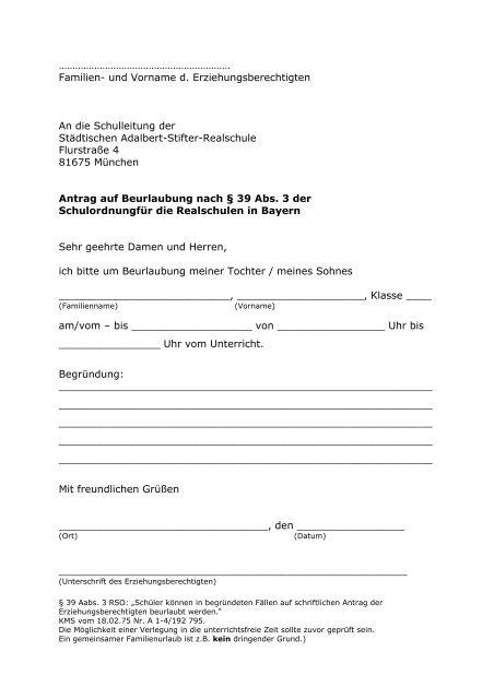 Antrag Beurlaubung Pdf Städtischen Adalbert Stifter Realschule