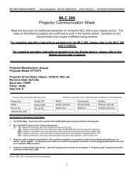 MLC 206 Projector Communication Sheet
