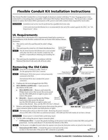 Flexible Conduit Kit Installation Instructions - Extron Electronics