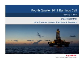 Fourth Quarter 2012 Earnings Call - ExxonMobil