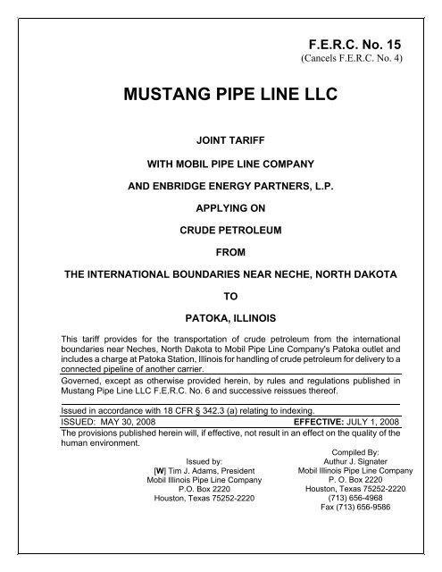 MUSTANG PIPE LINE LLC - ExxonMobil