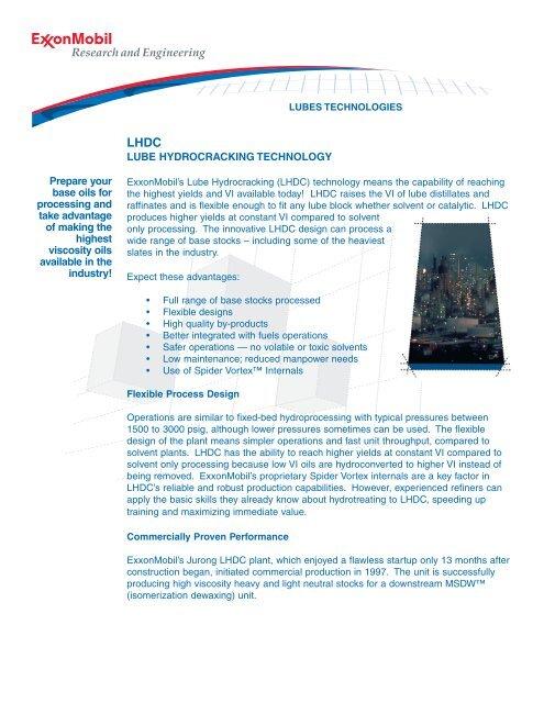 LHDC Lube Hydrocracking Technology - ExxonMobil