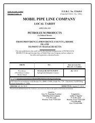 mobil pipe line company local tariff - ExxonMobil