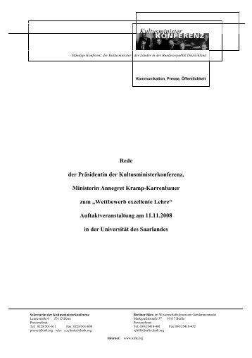 Ministerin Annegret Kramp-Karrenbauer - Exzellente Lehre