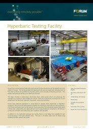 Hyperbaric Testing Facility - Forum Energy Technologies