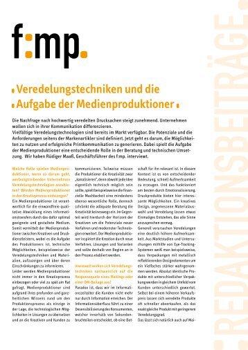 Veredelungstechniken und die Aufgabe der ... - PrintPerfection