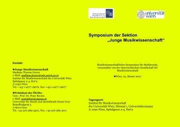 """Symposium der Sektion """"Junge Musikwissenschaft"""""""