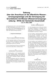Satzung über den Anschluss an die öffentliche Wasser - Assamstadt