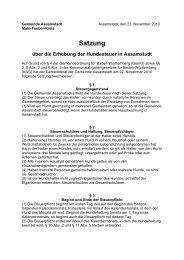 Satzung über die Erhebung der Hundesteuer in Assamstadt