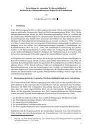 1 Entwicklung der regionalen Wettbewerbsfähigkeit im Bereich der ...