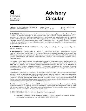 AC 150/5345-53D, Airport Lighting Equipment Certification ... - FAA
