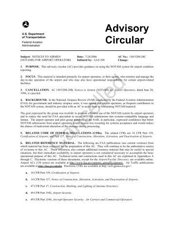 AC 150/5200-28C, Notices to Airmen (NOTAMs) for Airport ... - FAA