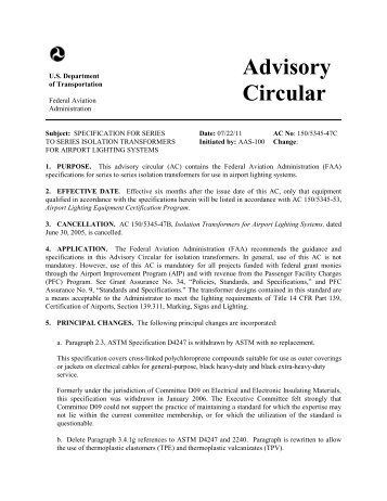 AC 150/5345-47C, SPECIFICATION FOR SERIES TO SERIES ... - FAA