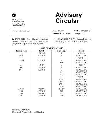 Draft Change 19 to AC 150/5300-13, Airport Design, June 2012 - FAA