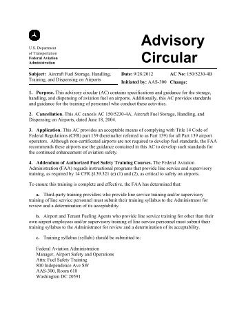 AC 150/5230-4B, Aircraft Fuel Storage, Handling and ... - FAA