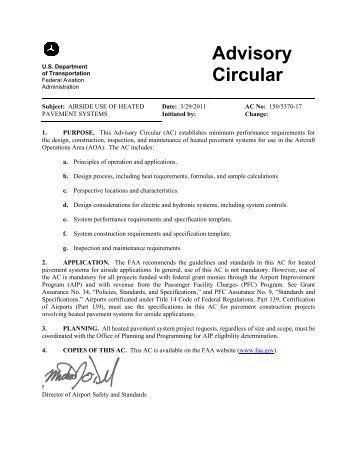 FAA Advisory Circular 150/5370-17, Airside Use of Heated ...