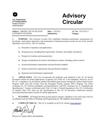 Overview update on faa advisory circular 1505300 13a 30 faa advisory circular 1505370 17 airside use of heated publicscrutiny Image collections