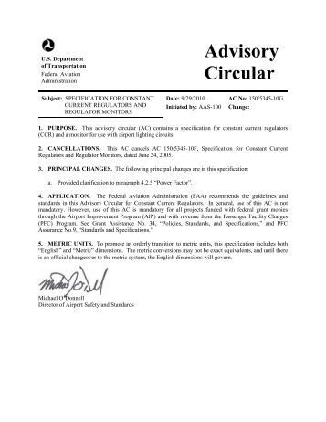 AC 150/5345-10G, Specification For Constant Current ... - FAA