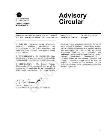 Cancelled AC 150/5220-10C, Guide Specification for Water ... - FAA