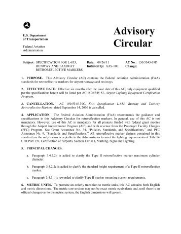 Advisory Circular 150/5345-39D, Specification for L-853 ... - FAA