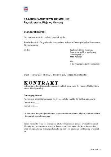 Standardkontrakt for leverandører af praktisk bistand. - Faaborg ...