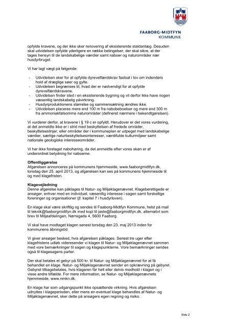Lars Ilum Højrupvej 45 5750 Ringe Afgørelse om udvidelse af ...